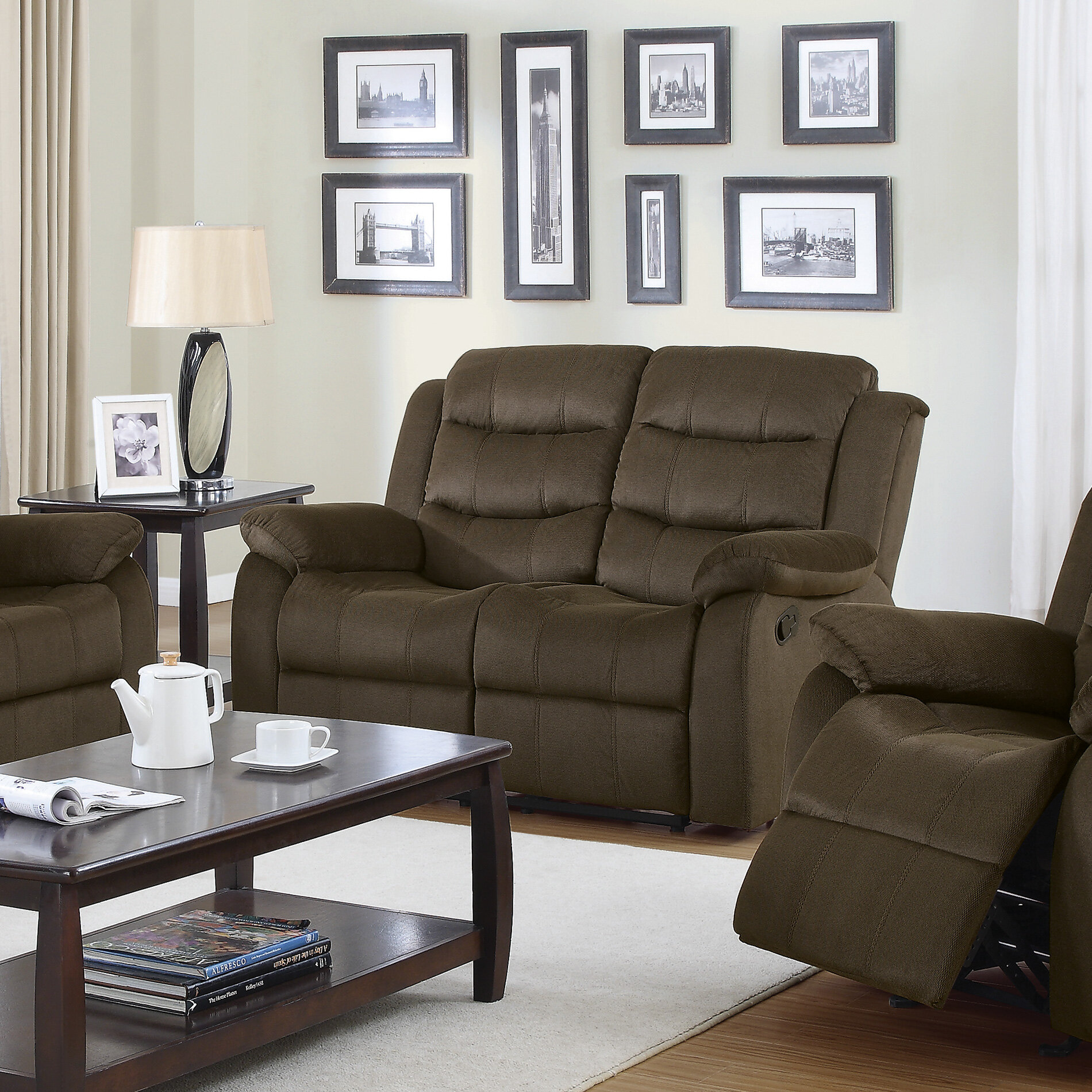 com dp living room bonded sofa with amazon double couch recliner brown leather reclining kitchen dining