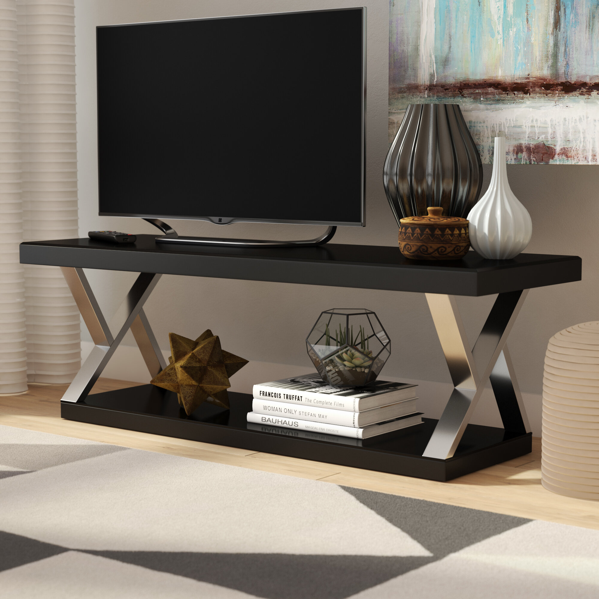 Ivy Bronx Elmer Double V Design Modern Tv Stand For Tvs Up To 65 Reviews Wayfair