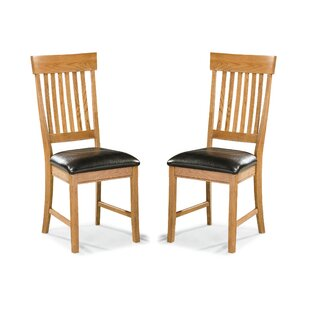 Whipple Slatback Genuine Leather Upholstered Dining Chair (Set of 2)