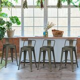 Monserrat Set of 4 Low Back Metal Counter Stool 24'' Seat Height Industrial Bar Stools Gun (Set of 4) by Williston Forge