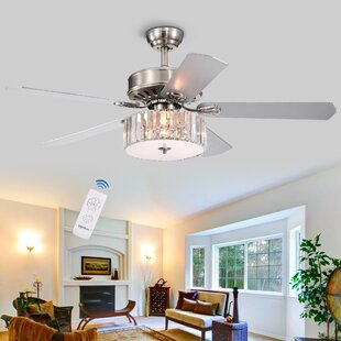 52 Dixie Crystal 5 Blade Ceiling Fan, Light Kit Included