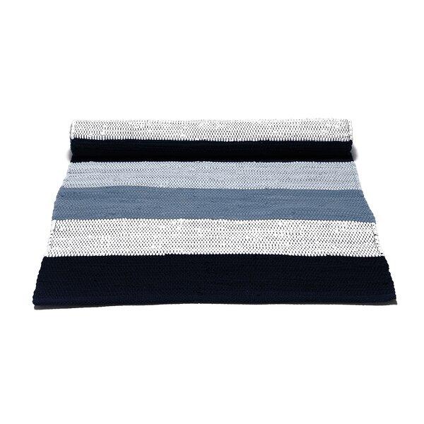 Rug Solid Handgefertigter Teppich Aus Baumwolle In Weiss Blau