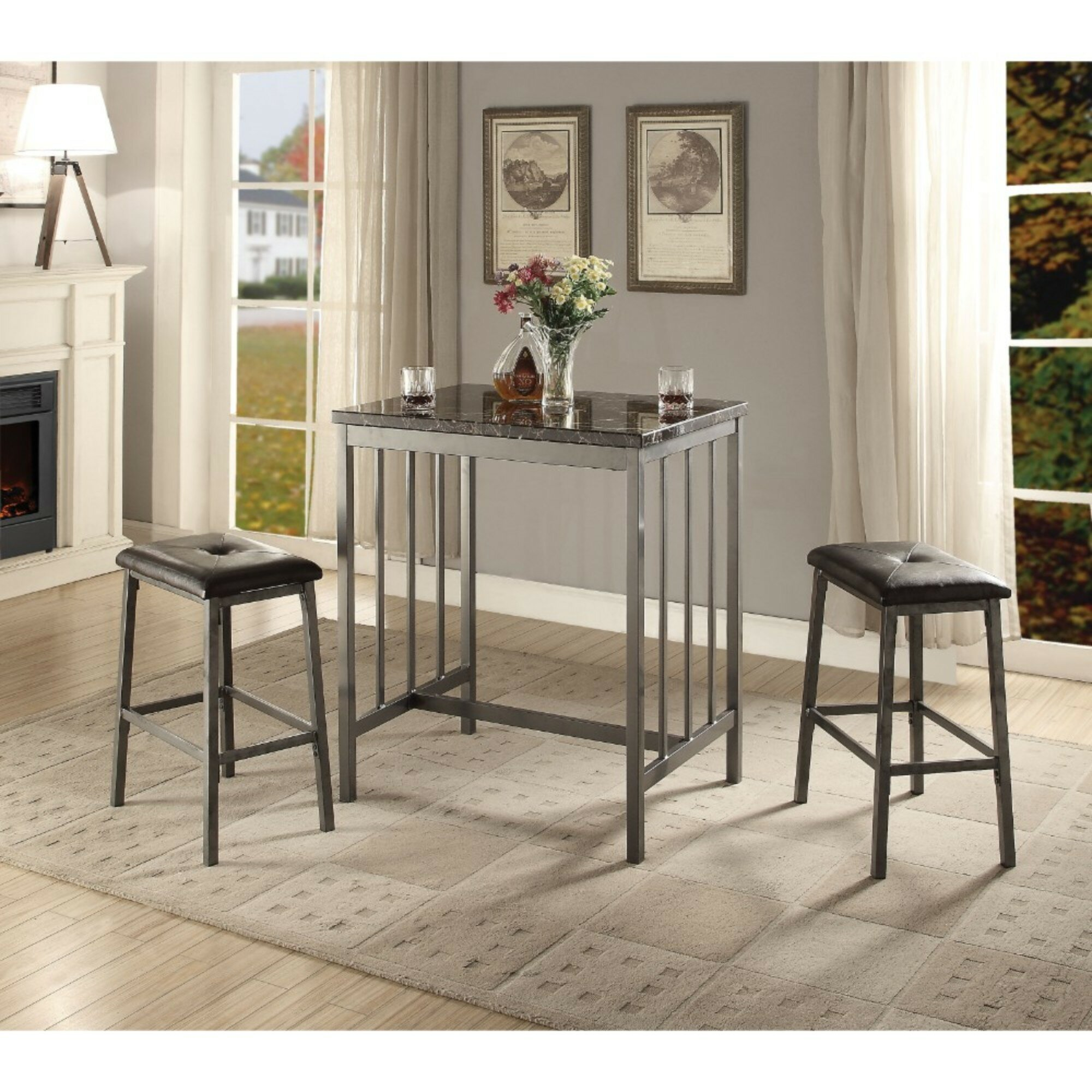 Kimbrel Transitional Faux Marble And Metal Counter Height 3 Piece Pub Table  Set