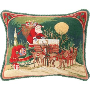 Hook Santa Riding Reindeer Needlepoint Wool Throw Pillow