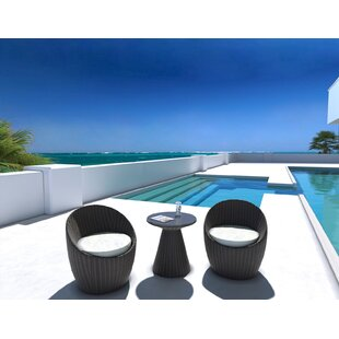 Balcony 3 Piece Conversation Set With Cushion