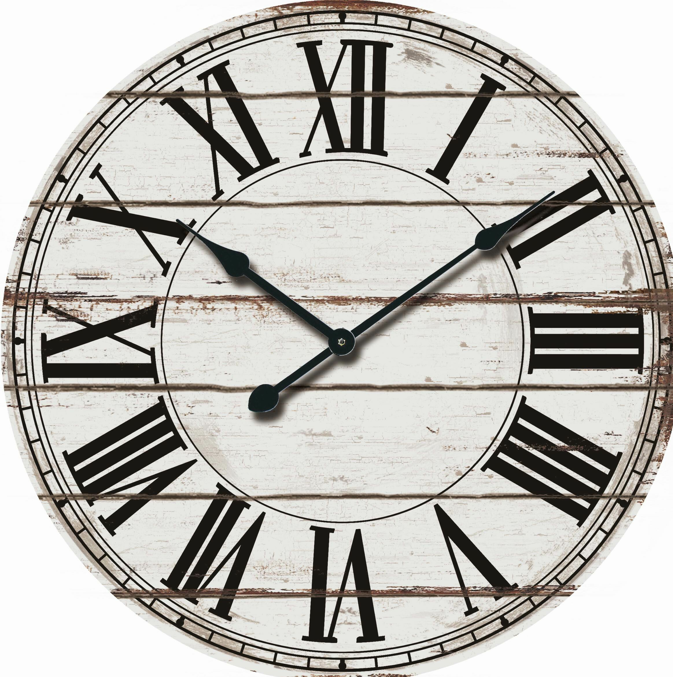 nora lane oversized rustic wood 24 wall clock reviews wayfair