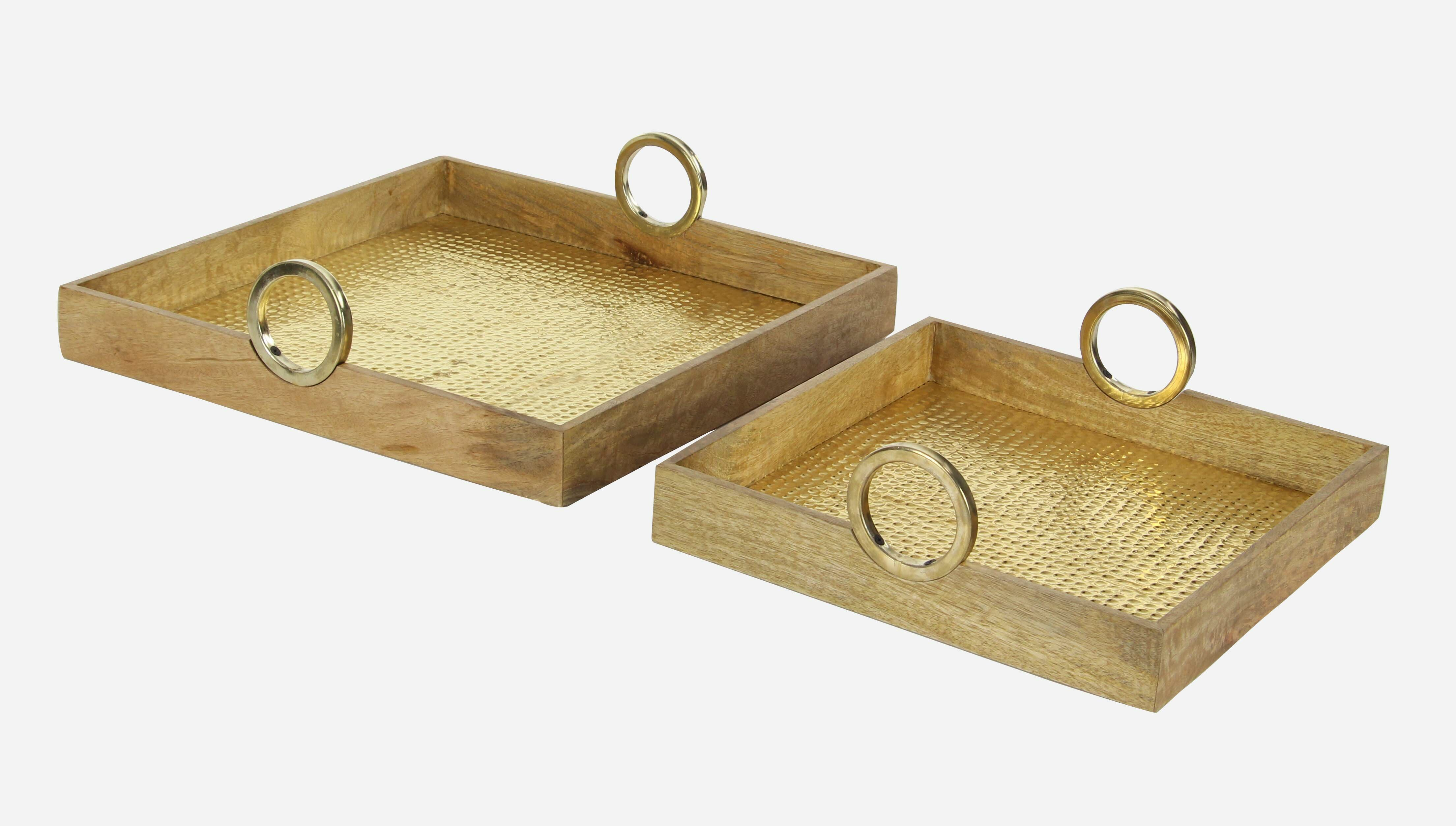 Cole & Grey Wood/Brass Square 2 Piece Accent Tray Set | Wayfair