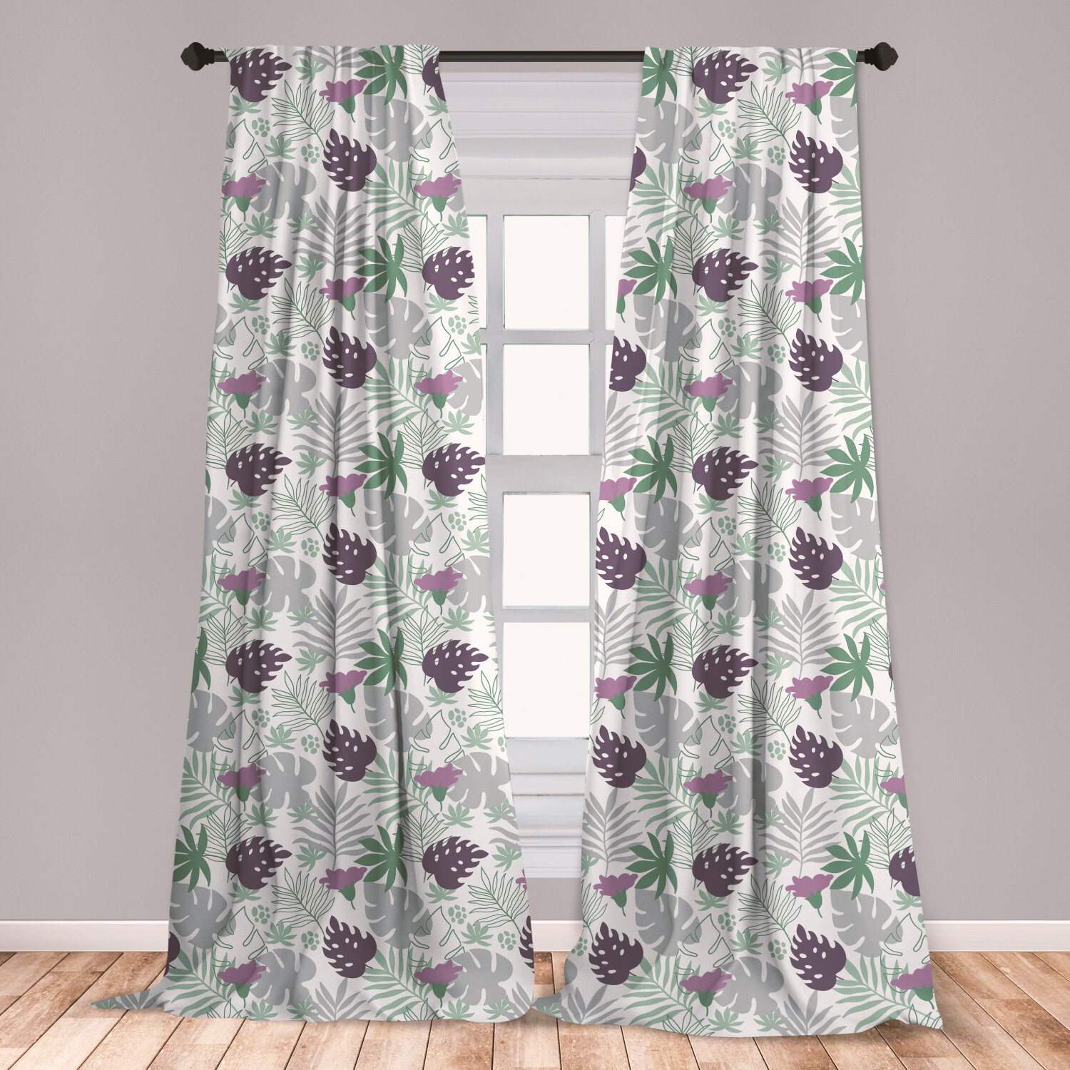 East Urban Home Ambesonne Leaves Floral Room Darkening Rod Pocket Curtain Panels Wayfair