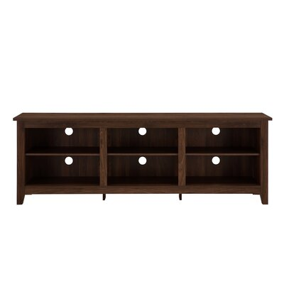 Beachcrest Home Sunbury TV Stand for TVs up to 70 with optional Fireplace Fireplace Included: No, Color: Dark Walnut