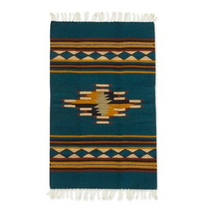 Artisan Crafted Decorative Multicolor Expertly Hand Woven Mexican Wool Home Decor Area Rug