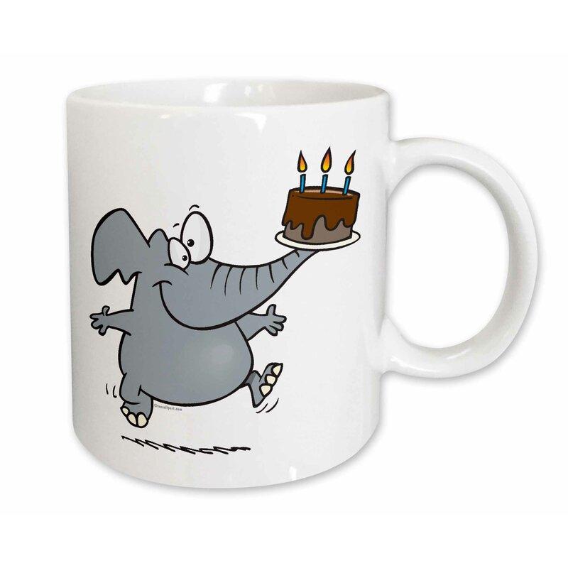 East Urban Home Cute Elephant With Chocolate Birthday Cake Coffee