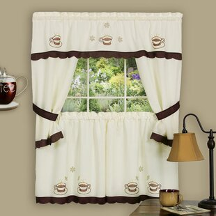 Cuppa Joe Embellished Cottage 58 Valance and Tier Set by Achim Importing Co