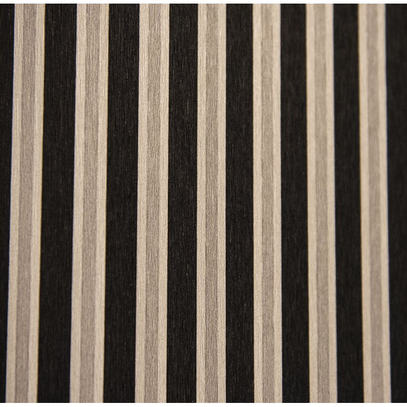 """Charlton Home MoretinMarsh Stripped 33 L x 20.5"""" W Textured Wallpaper Roll  Color: Black/Silver"""