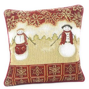 Parra Mr. and Mrs. Snowman Couple Woven Tapestry Pillow Cover (Set of 2)