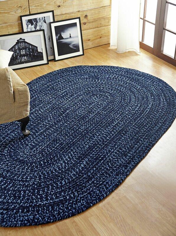 Chenille Reverible Tweed Braided Navy Smoke Blue Indoor Outdoor Area Rug