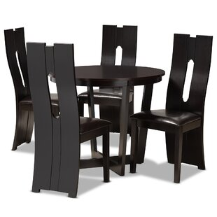 Aous 5  Piece Ruberwood Solid Wood Dining Set by Latitude Run