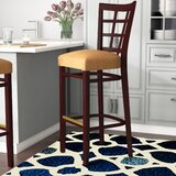 Beechwood Lattice Back Fully Upholstered Seat Bar & Counter Stool by Regal