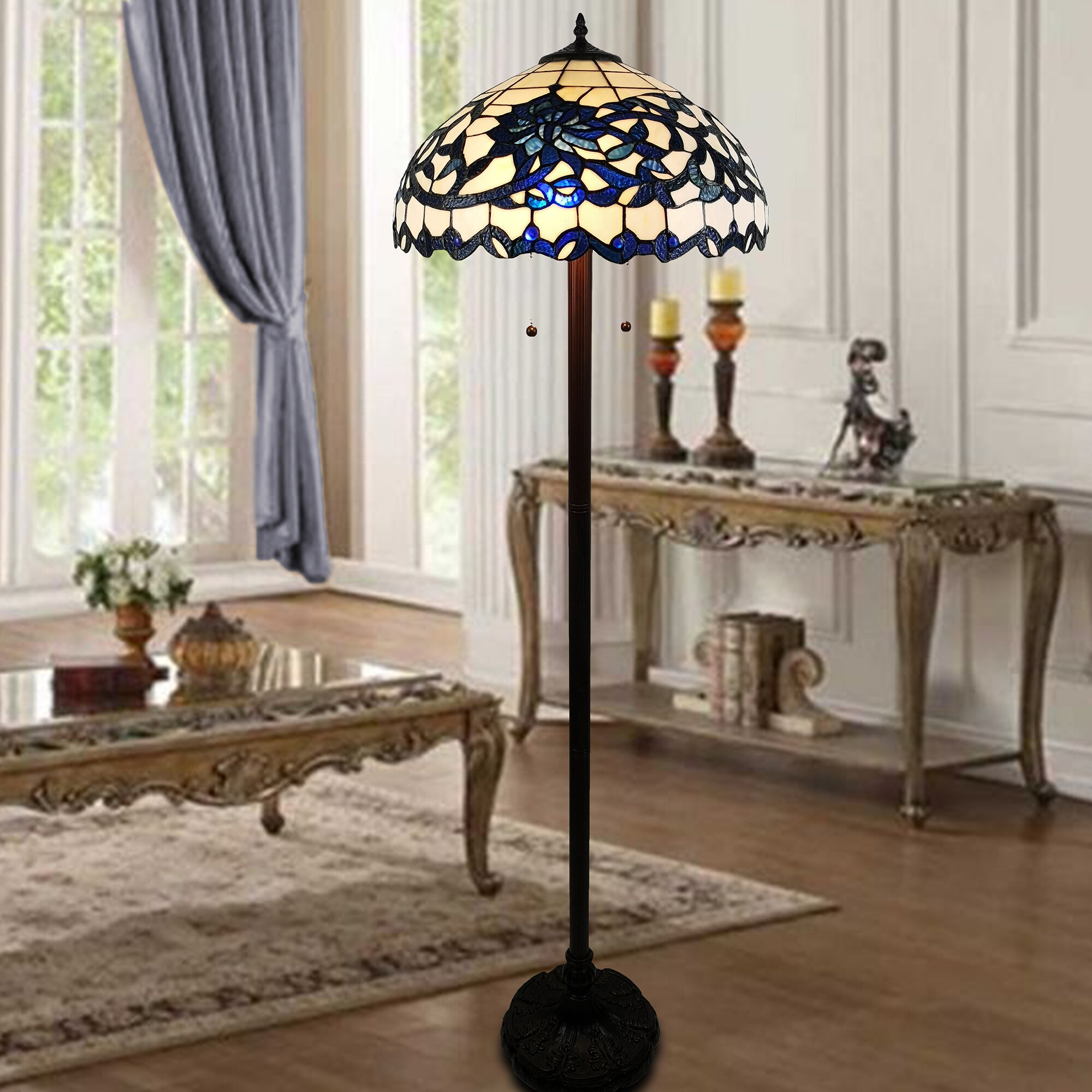 Image of: Canora Grey Halpin 61 Blue White Flower Design Glass Bronze Tiffany Style Floor Lamp Wayfair