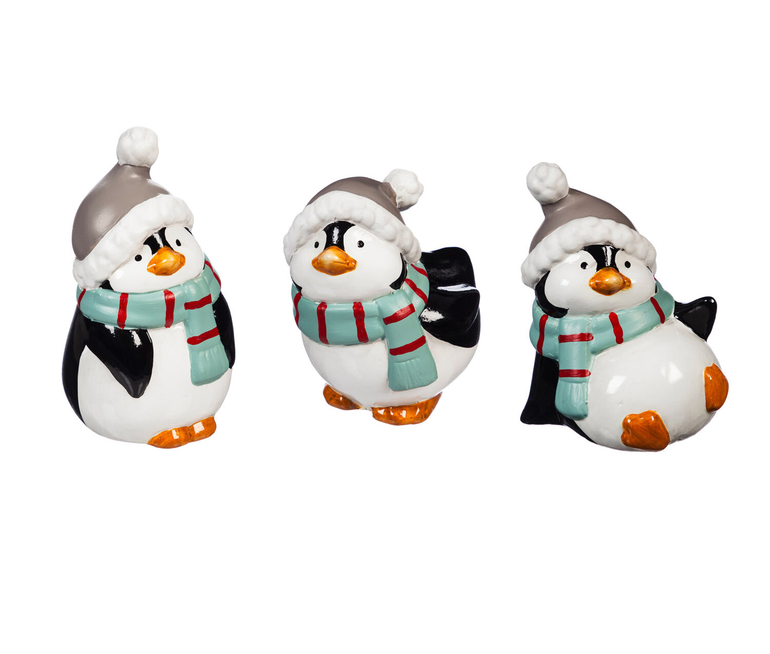 The Holiday Aisle Kelston 3 Piece Ceramic Penguin With Hat And Scarf Figurine Set Reviews Wayfair