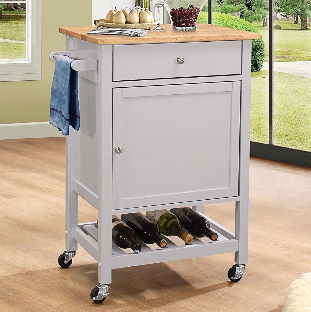 Major Q Natural And Grey Finish Wheeled Kitchen Island Cart With Spice Rack Towel Rack Drawer And Wine Bottle Rack