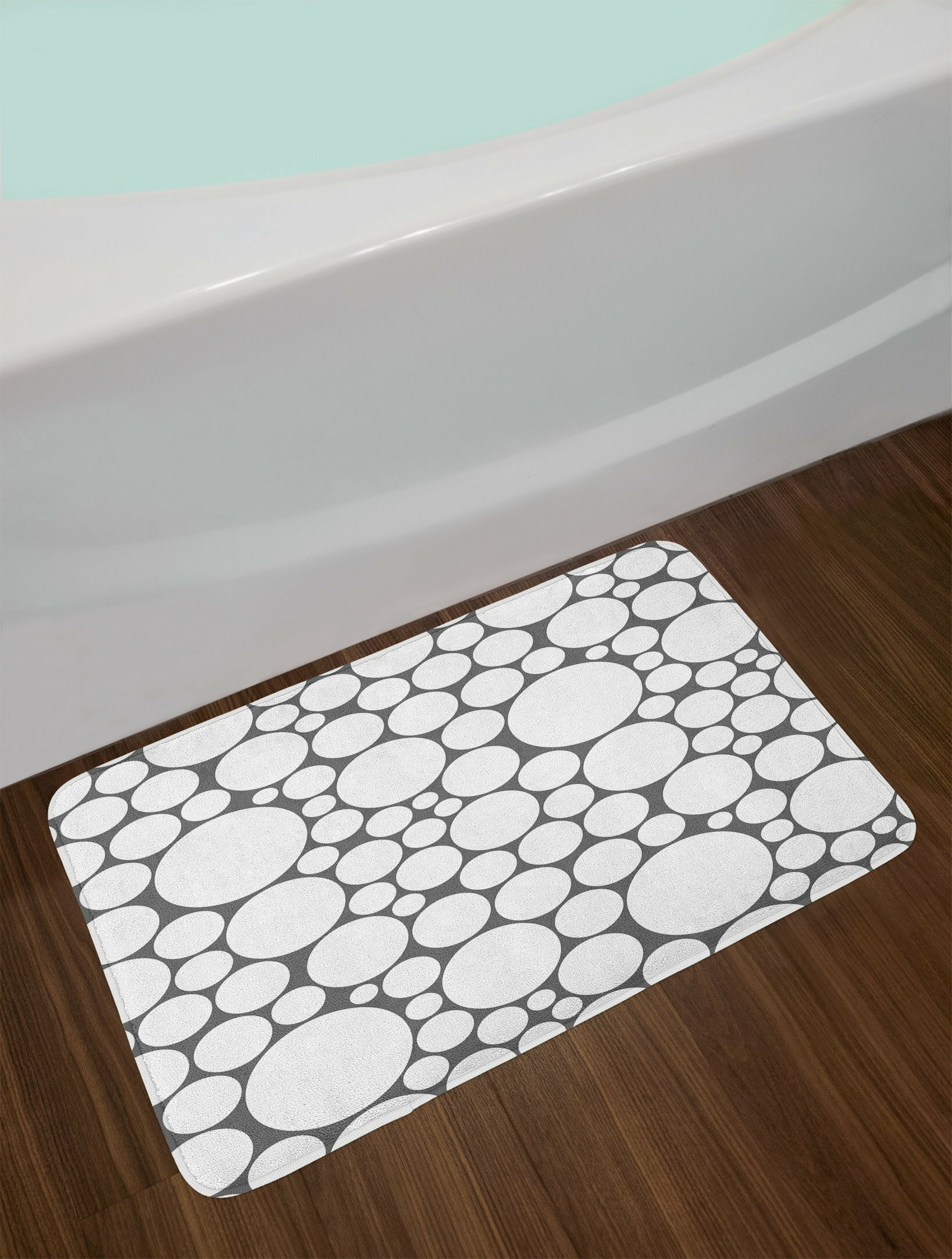 East Urban Home Geometric Retro Pattern with Large Small Round Dots Bath Rug   Wayfair