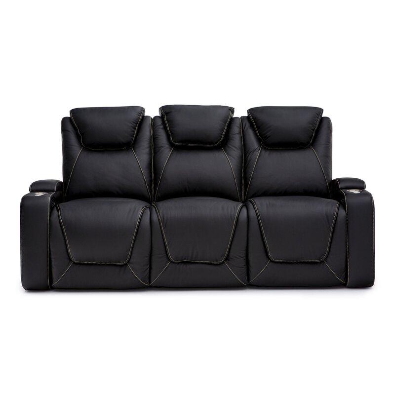 Latitude Run Leather Home Theater Sofa Reviews Wayfair