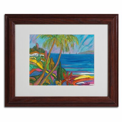 """Breakwater Bay 'Blue Sea with 2 Boats' Framed Painting Print on Canvas Size: 11"""" H x 14"""" W x 0.5"""" D, Frame Colour: Brown"""