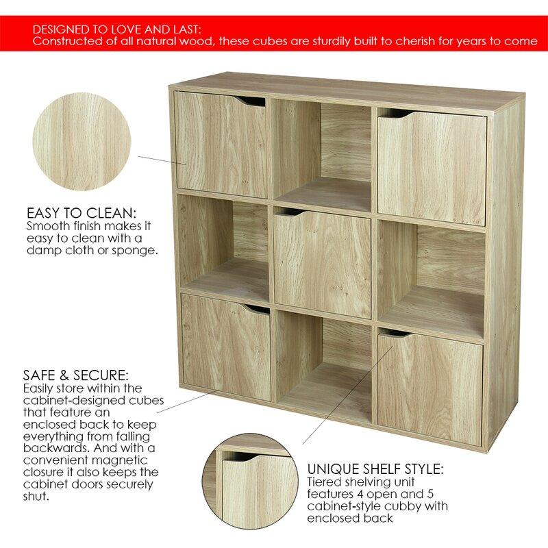 Longridge Wood Storage 9 Cube Bookcase