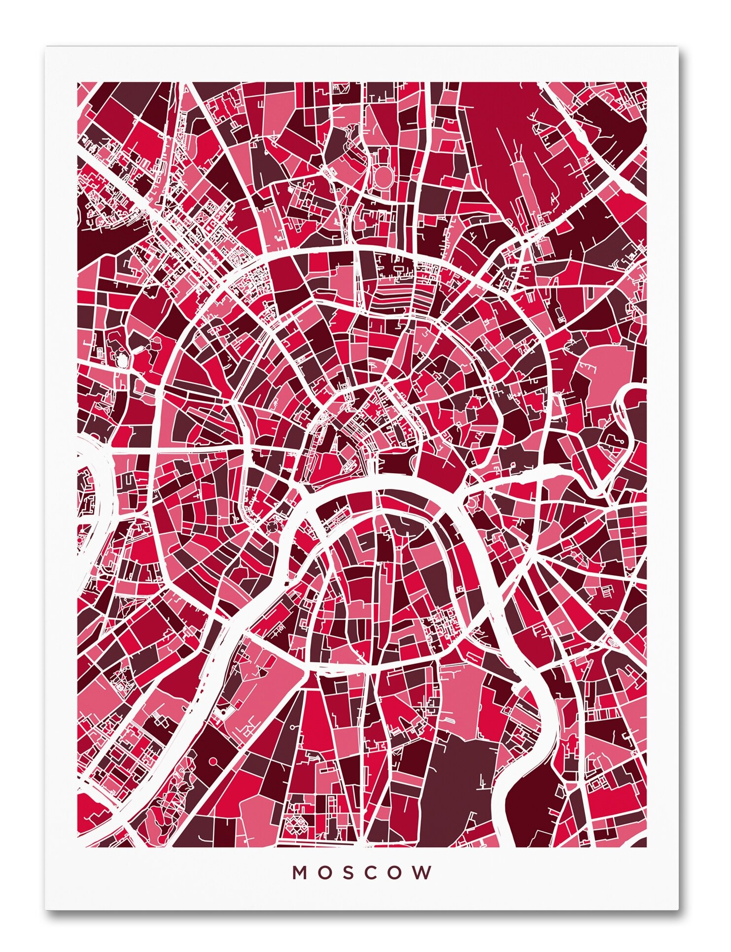 Trademark Art Moscow City Street Map Graphic Art On Wrapped Canvas Wayfair