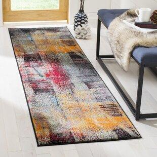 Charis Black/Red/Orange Area Rug by Ebern Designs