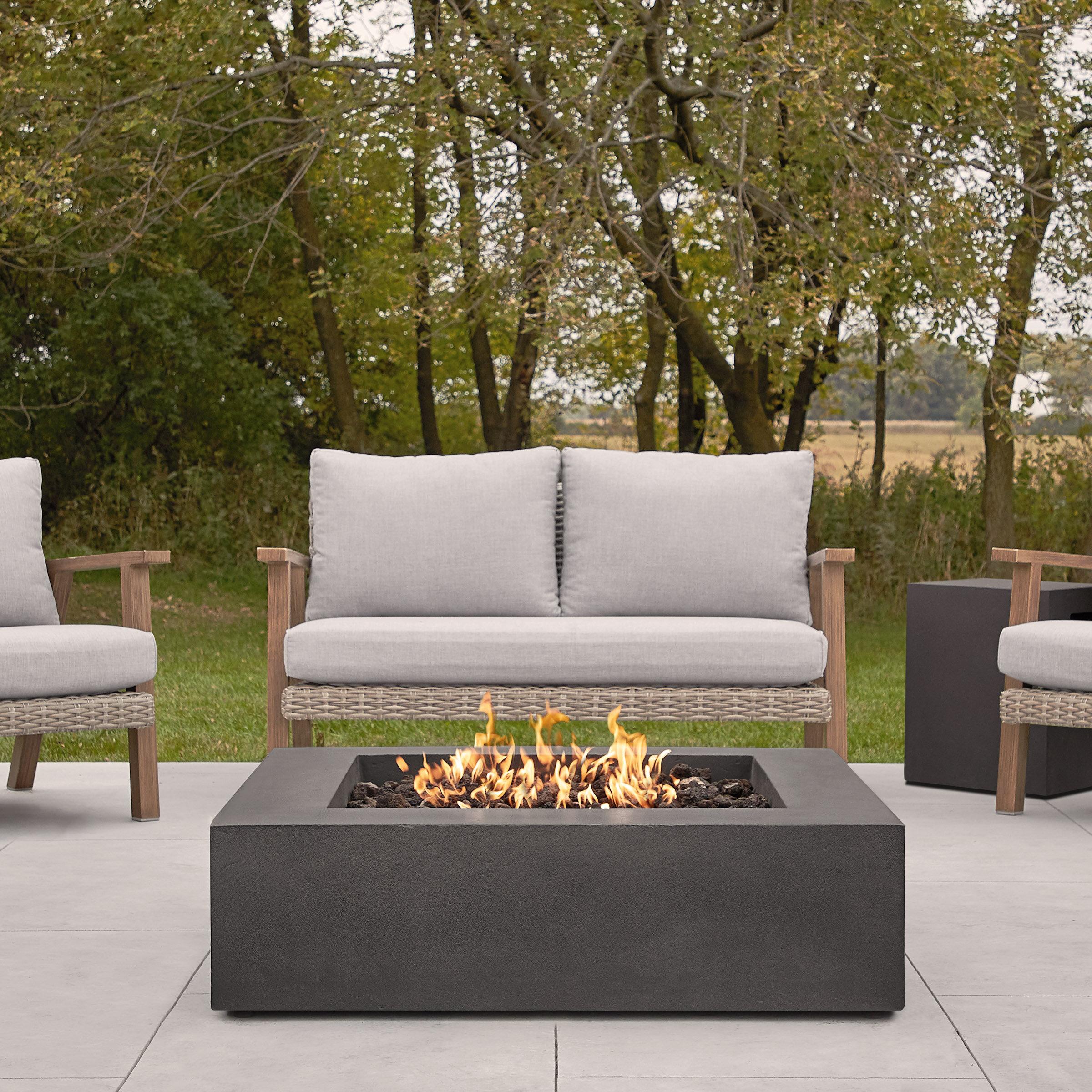 Orren Ellis Daisley Concrete Propane Gas Fire Pit Table Wayfair