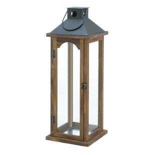 Check Prices Simple Metal Top Wooden Lantern By Breakwater Bay