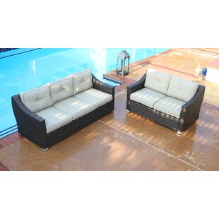 Tampa 2 Piece Patio Sofa Group with Cushion by World Wide Wicker