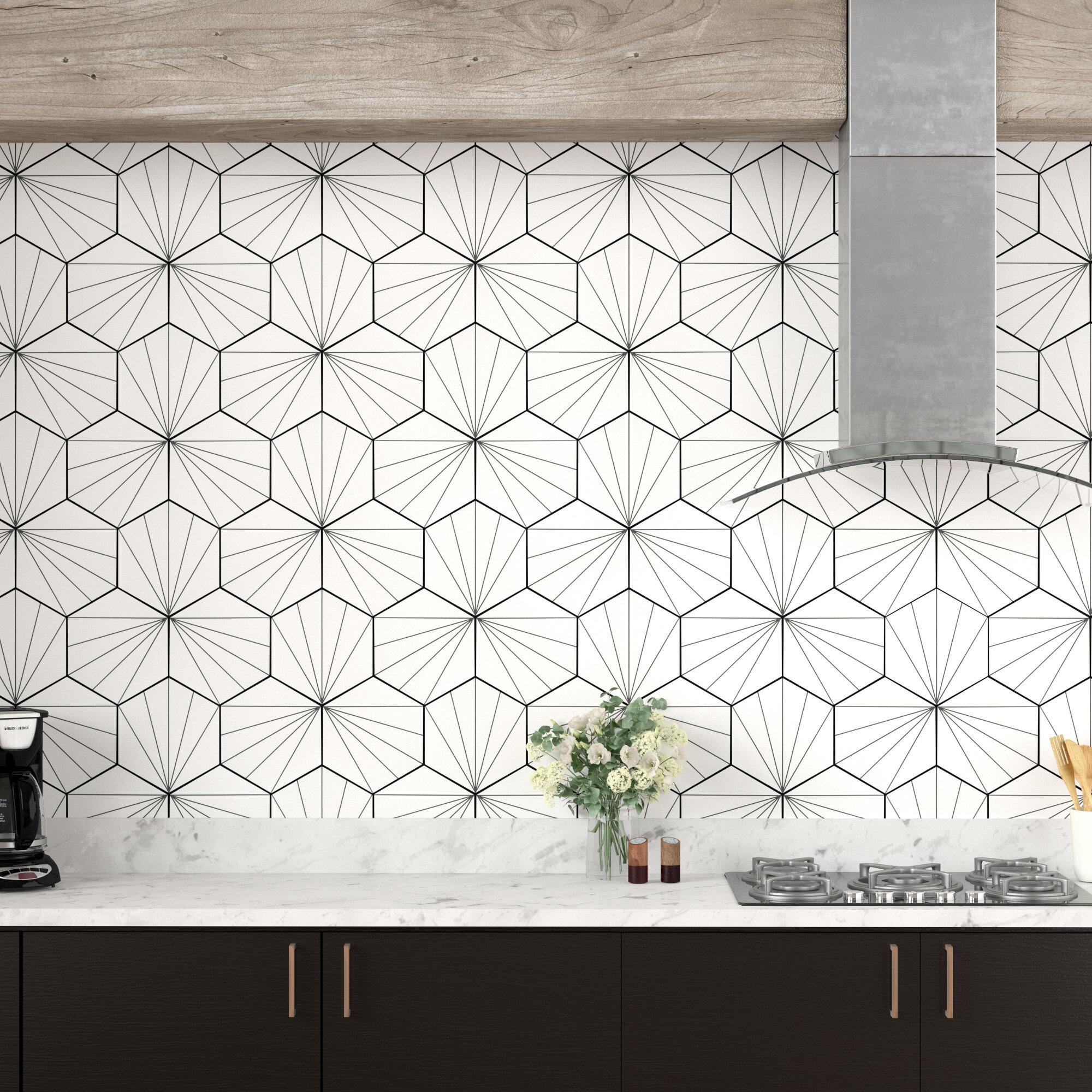 """EliteTile Misha 7"""" x 7"""" Porcelain Patterned Wall & Floor Tile"""