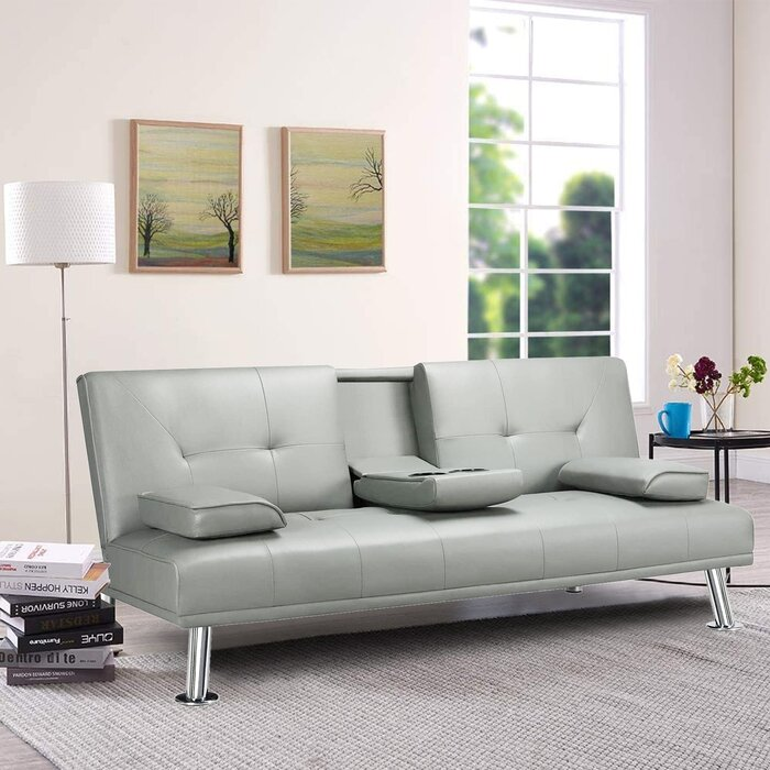 Aarynn Biscuit Back Convertible Sofa (Light Gray)