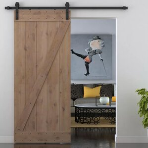 z bar primed sliding knotty solid wood panelled alder slab interior barn door
