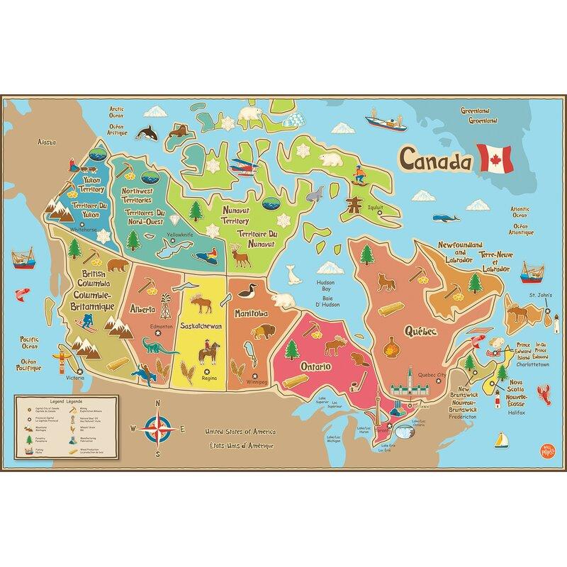 Wallpops Wallpops Kids Canada Map Wall Mural Wayfair Ca