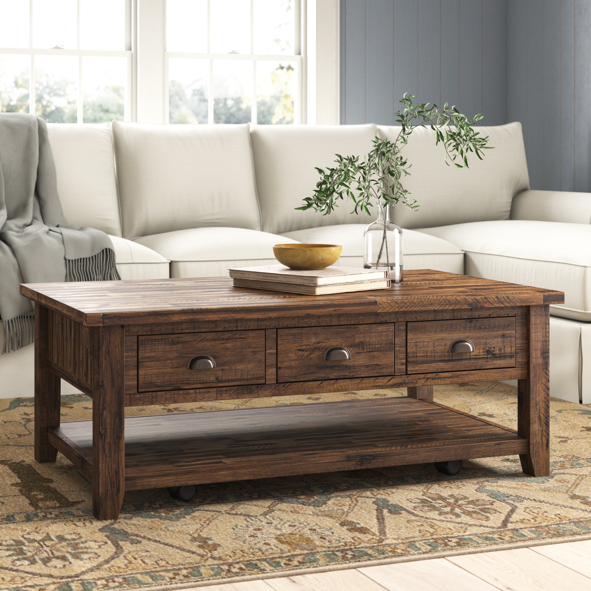 Wellston Solid Wood Coffee Table With Storage Reviews Birch Lane
