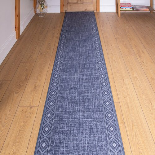 Bank Looped/Hooked Blue Hallway Runner Rug ClassicLiving Rug