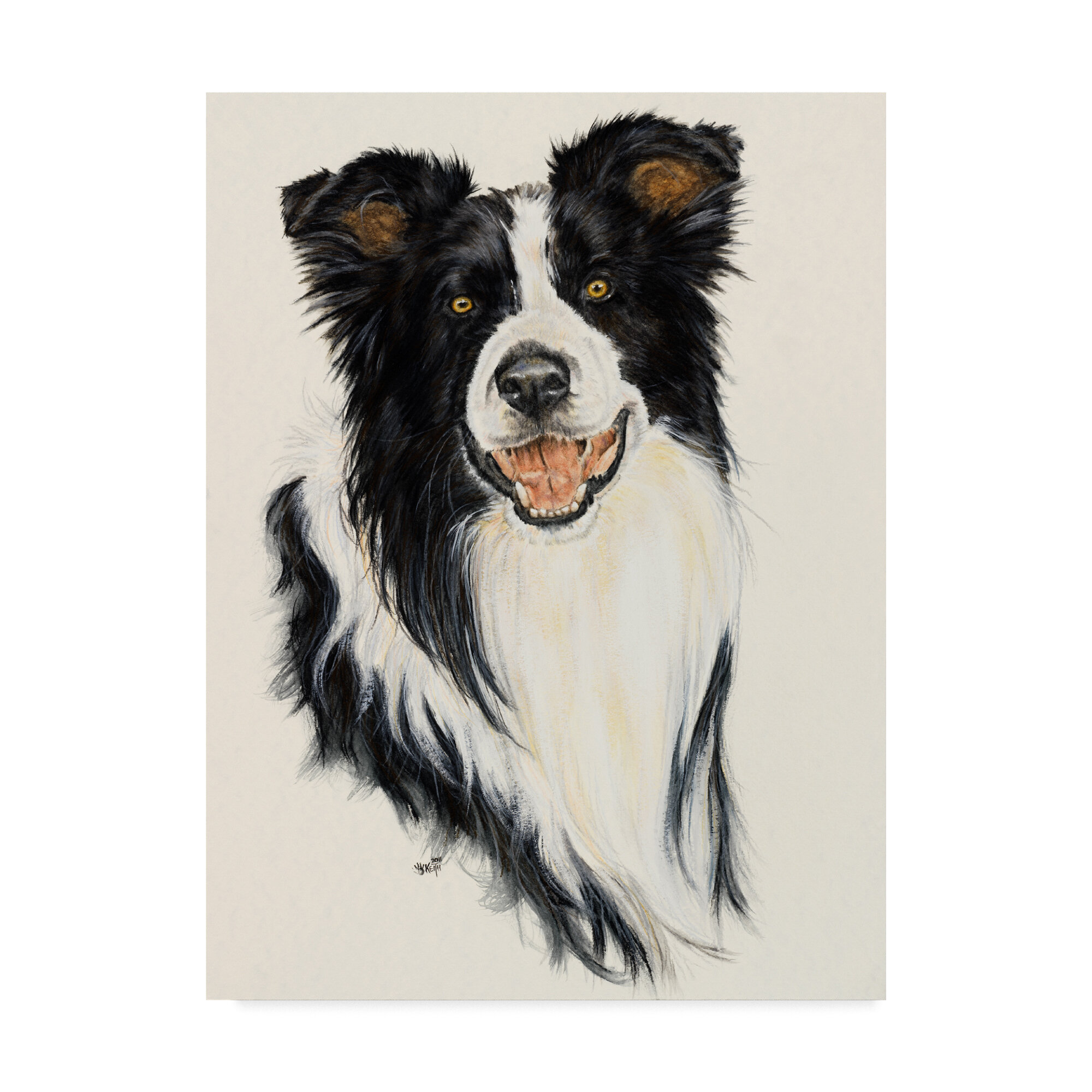 Trademark Art Border Collie Oil Painting Print On Wrapped Canvas Wayfair