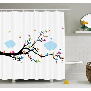 Best Choices Winged Birds Sitting and Tweeting on Leafless Winter Tree with Fluffy Clouds Shower Curtain Set By Ambesonne