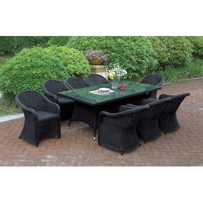JB Patio 9 Piece Dining Set with Cushions Colour: Black