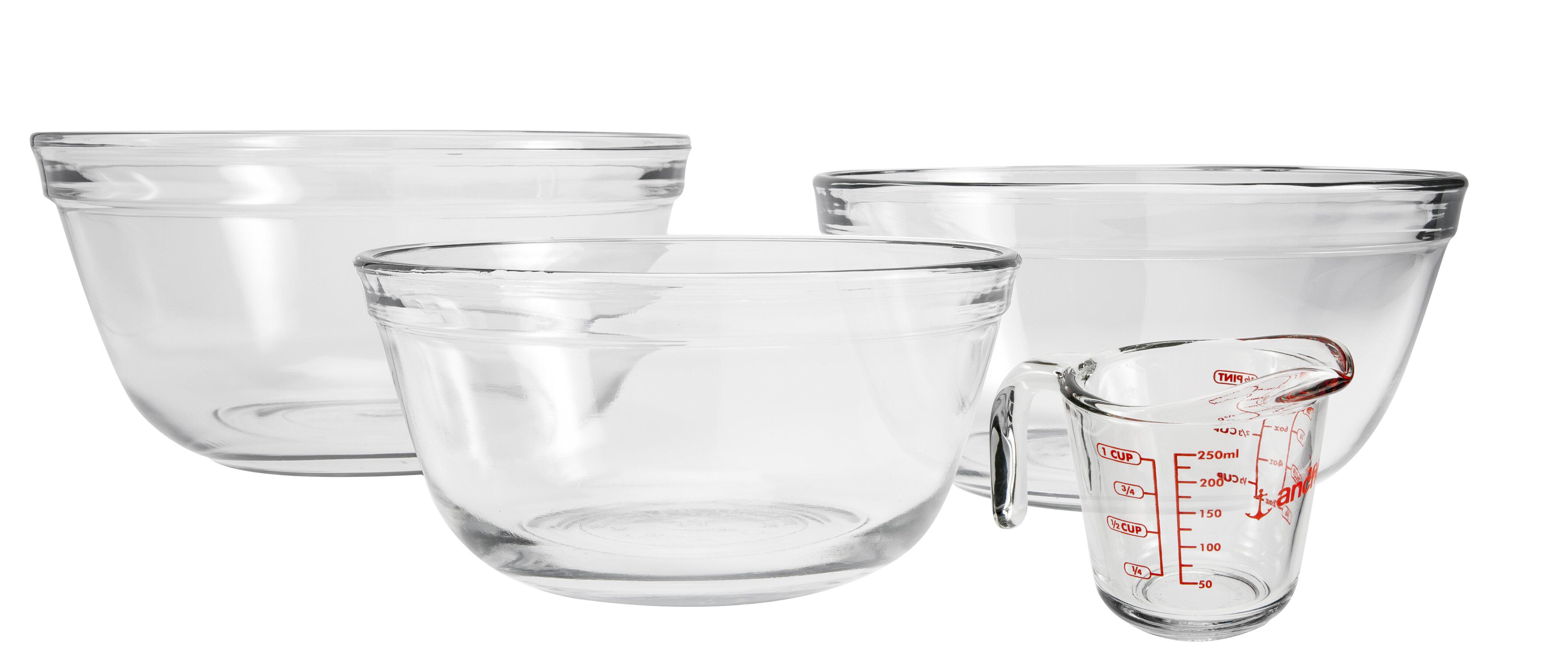 Anchor Hocking 2 Quart Ovenproof Glass Batter Bowl Set of 4