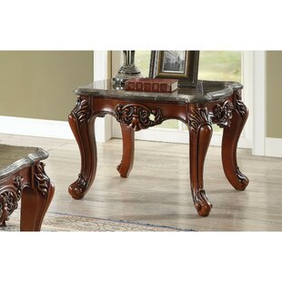 Swisher Scalloped Marble Top Carved Floral Motifs Wood Legs End Table by Astoria Grand