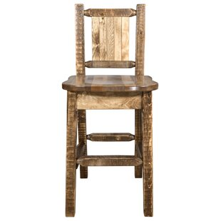 Abella 30 Barstool with Back and Laser Engraved Pine Tree Design by Loon Peak