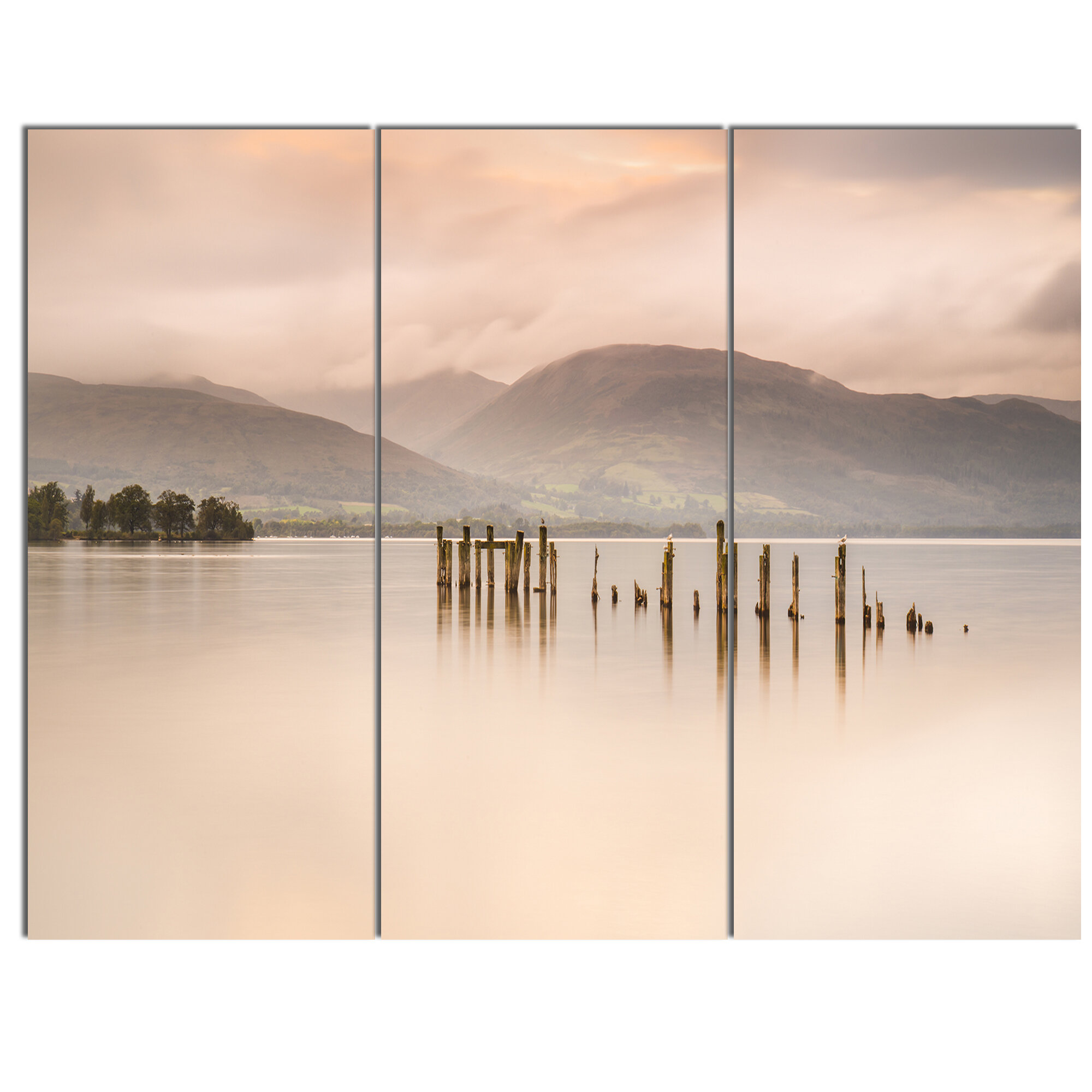Designart Loch Lomond Jetty And Mountains 3 Piece Photographic Print On Metal Set Wayfair