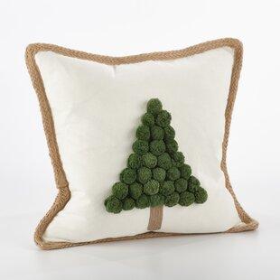 Ricamato Xmas Tree Cotton Throw Pillow