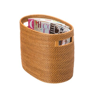 Charlton Home Throncliffe Rattan Magazine Rack and Newspaper Basket Color: Honey Brown