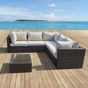 Bargain East Helena 6 Piece Rattan Sectional Seating Group with Cushions By Brayden Studio