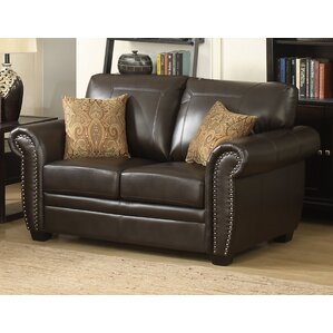 Louis Stationary Leather Loveseat by AC Paci..